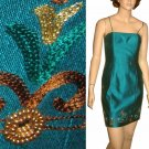 sz 4 GEOMETRIE Embroidered Sequined Cocktail Dress in Aqua
