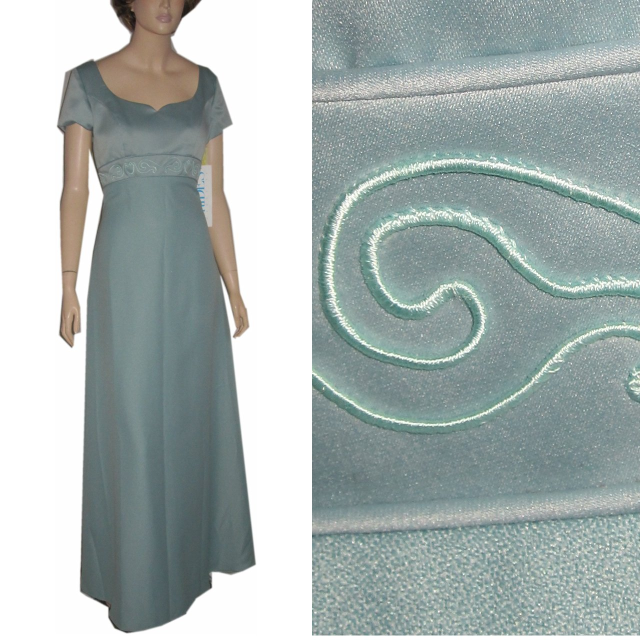 sz M - '70s JORDAN Empire Satin Gown UNWORN w/tags - Aquamarine