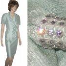 sz 10P Vintage Leslie Fay formal suit UNWORN Steampunk - Seafoam green