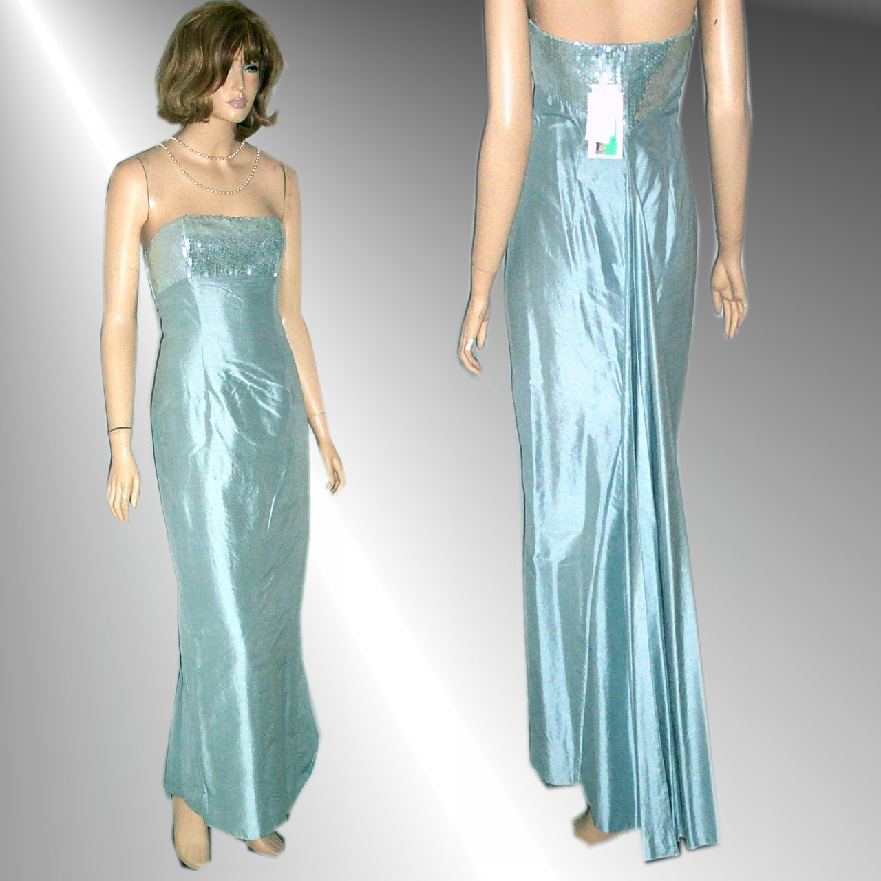 JESSICA McCLINTOCK Shantung Silk Strapless Fishtail Gown in Ice Blue - Bust 32""