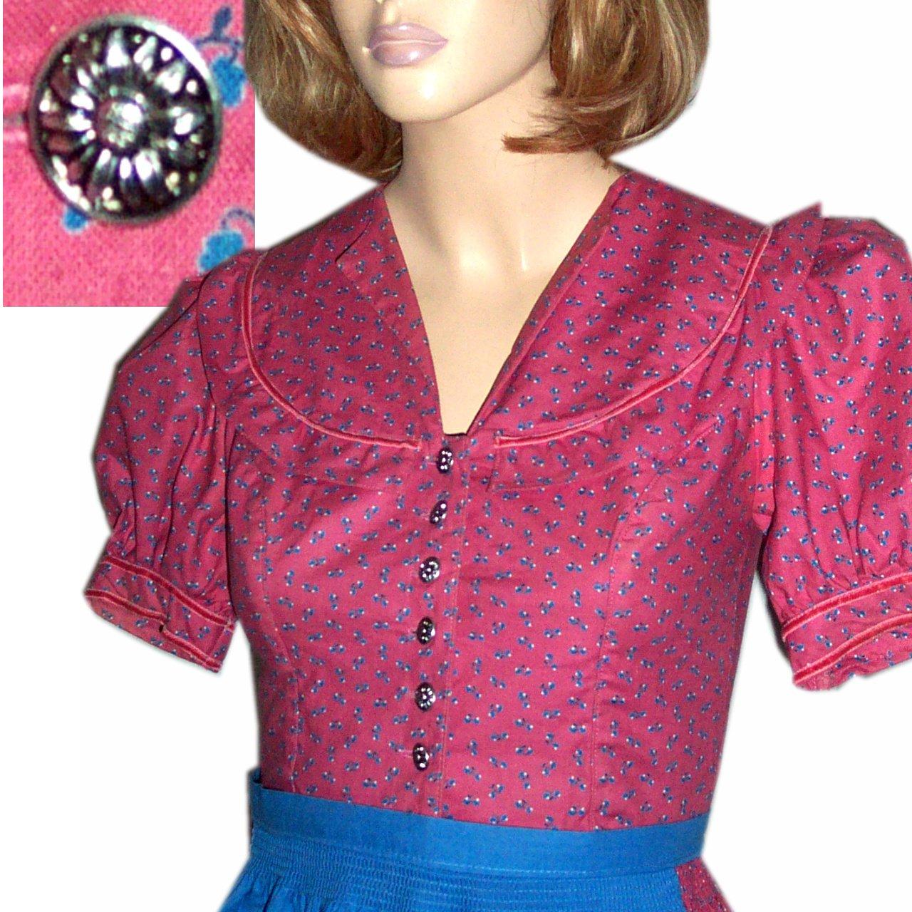 Prairie Dress Bavarian Dirndl - Trachten Buttons - OKTOBERFEST Pink Calico Bust 33