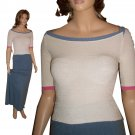 BETTE PAIGE Curve-Enhancing Boat Neck Sweater in Cream - Size M-L Retail $132 - Your price $27.99