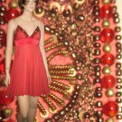 NIKKA New York SILK CHIFFON PIxie Dress in Guava Beads Sequins Rhinestones NEW 4