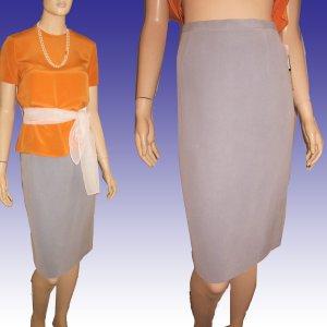 New DUE per DUE 100% Sueded Silk Executive Skirt in Light Blue Size 6