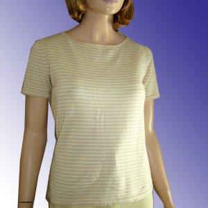 "BELFORD Designer ""Sailor"" Cotton Sweater - Short sleeve - Beige & white Ladies Small"