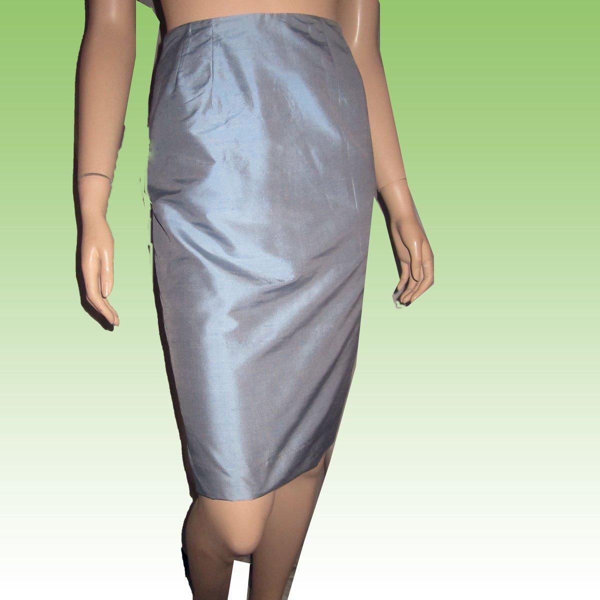 CATHY SCOGGIN Thai Silk Skirt in Baby Blue - sz 6 - $19.99 - MSRP $145
