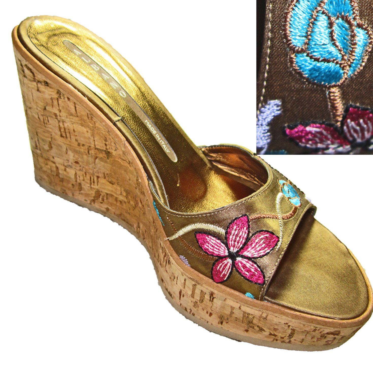 ALBANO Italian Cork Sole WEDGE PLATFORM Slide Shoes Embroidered 5.5