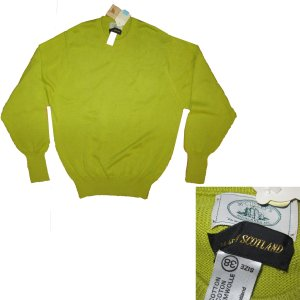 sz M McGULLEY'S Mens Scottish Crew Neck Sweater - New - Cotton - Yellow-Green