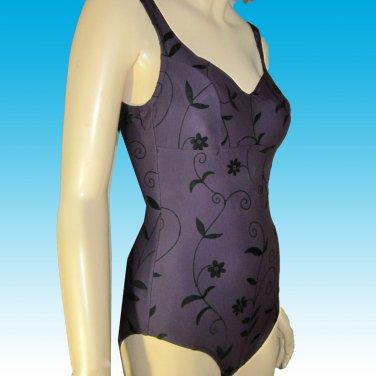 """Swim Wrap"" BODY CONTOURING Swim Suit by Christina NEW in Deep Purple Brocade sz 8"