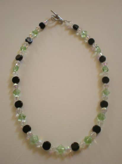 Green, black, and crystal necklace