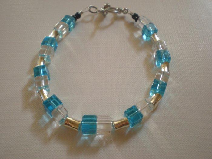 square blue and crystal bracelet