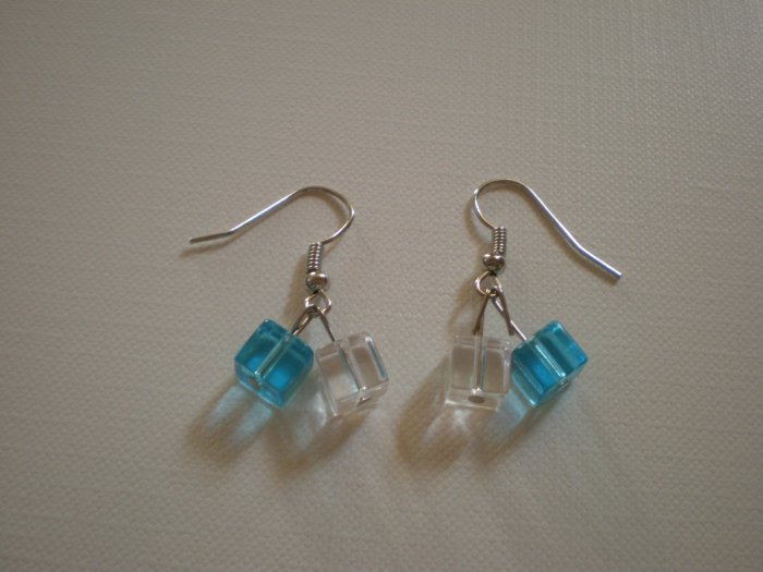 square blue and crystal earings