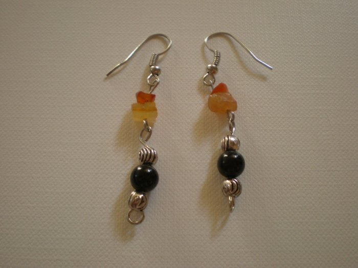 red and brown stone dangle earings