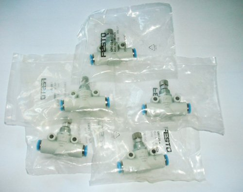 Set Of 5 Piece Festo GRO-QS-6 In Line Air Flow Regulator