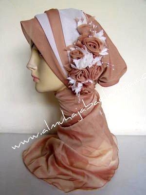 Layered Floral HijabiCap - Beige