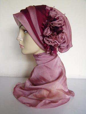 Layered Floral Hijabicap - Rose