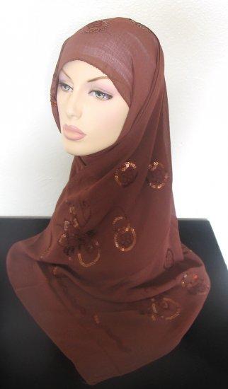 Sequin Flower Hijab - Mocha