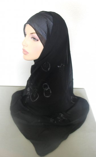 Sequin Flower Hijab - Black
