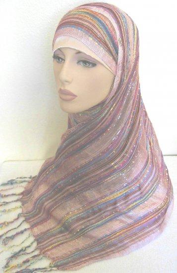 Shimmer Stripes Hijab - Pink