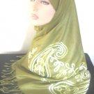 Asian Dream Embroidered Pashmina Hijab - Olive