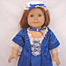 Blue Colonial Gown for 18 inch Doll Dress