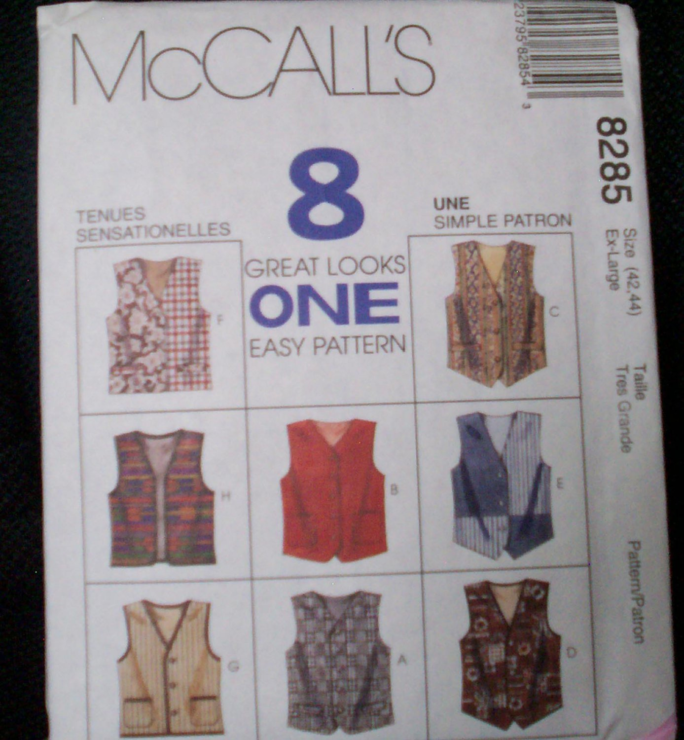 McCall's 8285, Extra large size 42, 44  tall