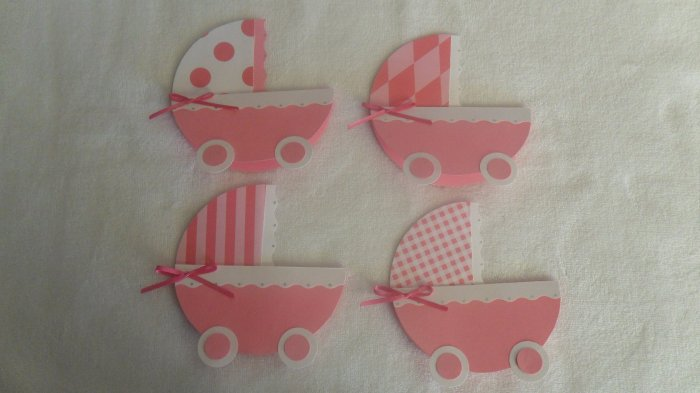 24 Hand Crafted Baby Shower Invitations/Baby Carriage/ Girl