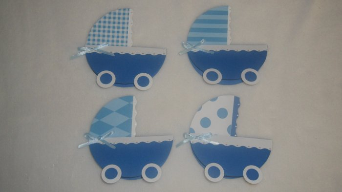 24 Hand Crafted Baby Shower Invitations/Baby Carriage/ Boy