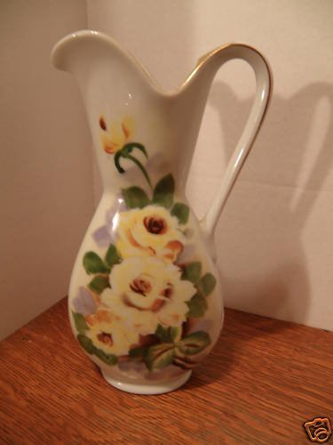 Vintage Porcelain Pitcher with Roses & Liquid Gold Trim