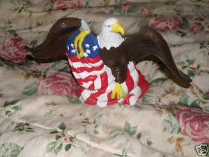 American Bald Eagle Statue with American Flag
