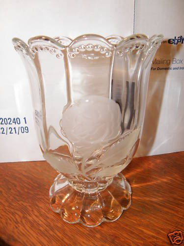 Large Clear Glass Vase with Rose