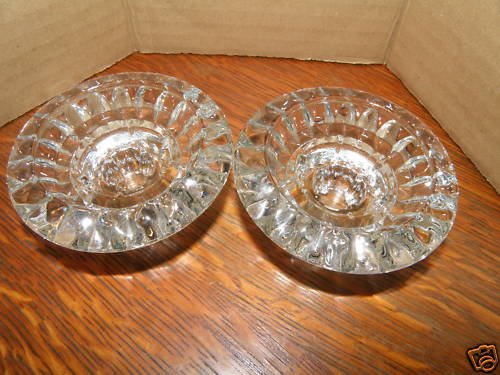 Small Clear Glass Candle Holders with Quilted Design