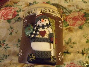 Ceramic Holiday Snowman Jar