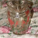 Vintage Clear Glass with Roses Water Pitcher