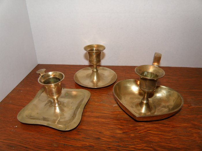 3 Small Hand Held Brass Tapered Candle Holders