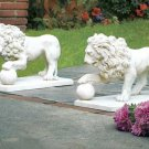 Pair of Stately Lion Statues for Garden or Driveway