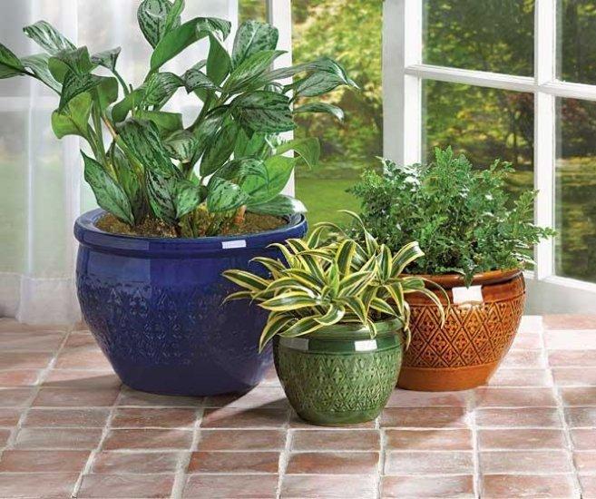 Set of 3 Jewel Tone Flower Pots