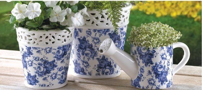 Blue Floral Planter Set with Matching Watering Can