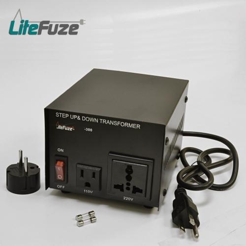 LiteFuze 300 Watt Voltage Converter Transformer 110-220
