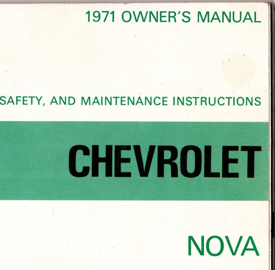 1971 Chevrolet Nova Owners Manual