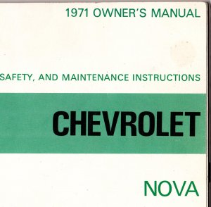 1971 Chevrolet Nova Owners Manual