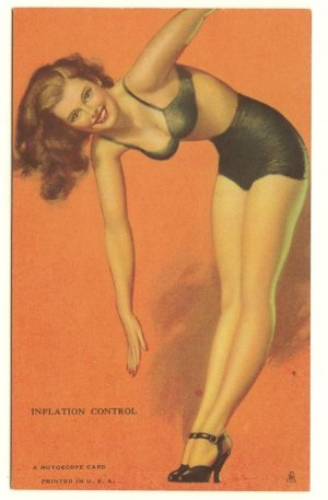 MUTOSCOPE CARD Pinup 1940's Earl Moran INFLATION CONTROL