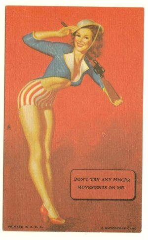 MUTOSCOPE CARD 1940s Earl Moran DON'T TRY ANY PINCER MOVEMENTS ON ME