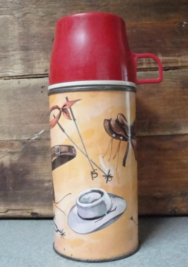 TALL THERMOS, Lawman, 1961, Western Generic, Vintage
