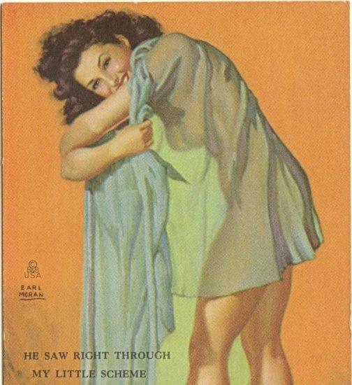 MUTOSCOPE CARD 1940s Earl Moran HE SAW RIGHT THROUGH MY LITTLE SCHEME