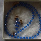 crystal blue necklece,earings set
