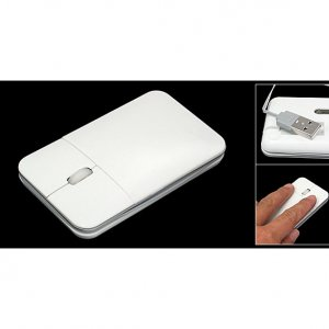 White Rectangle 3D USB Mini Optical Mouse for Laptop PC