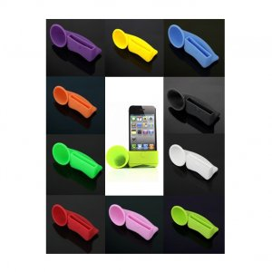 Silicone Horn Stand Amplifier Speaker for iPhone 4G BLK
