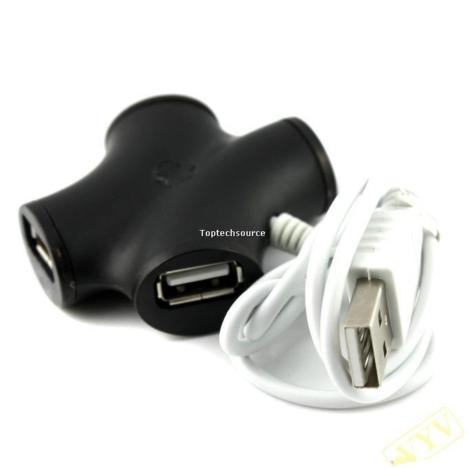 X Shape High-speed USB 2.0 HUB 4-port Black D636