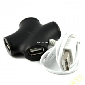 X Shape High-speed USB 2.0 HUB 4-port Black D636